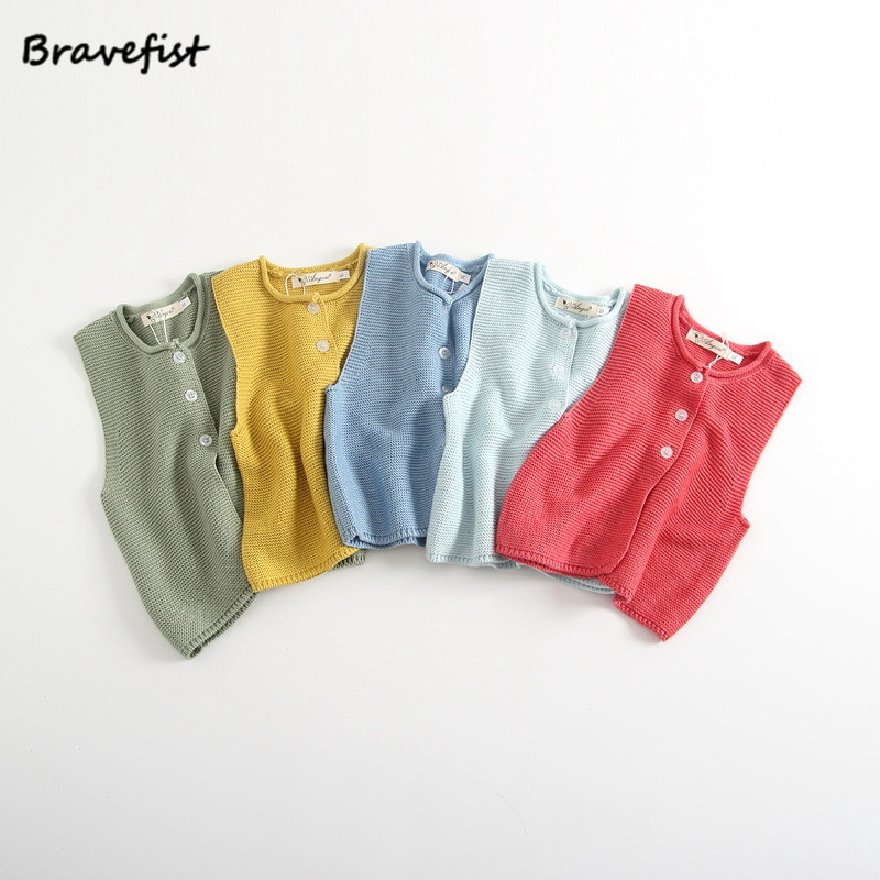 Одноцветное для маленьких мальчиков девочек Вязание жилет Модные Детские свитера милые хлопковые свитера Ve малышей жилеты одежда для мале...