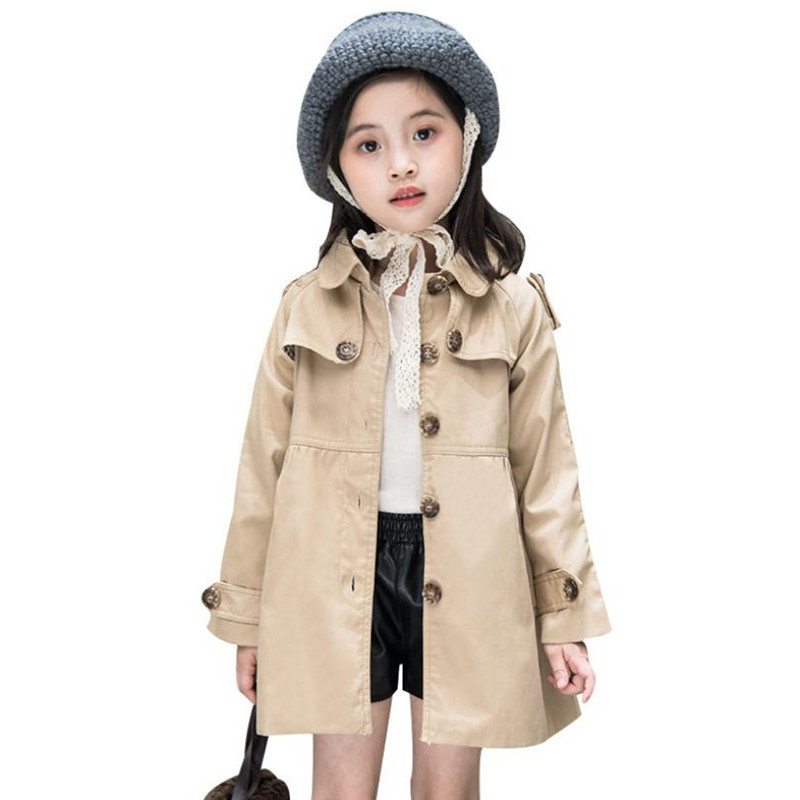 DFXD High Quality Autumn Baby Girls Long Single-breasted Cotton Turn Down Collar Princess   Trench   Coat Children Outwear 2-8Years
