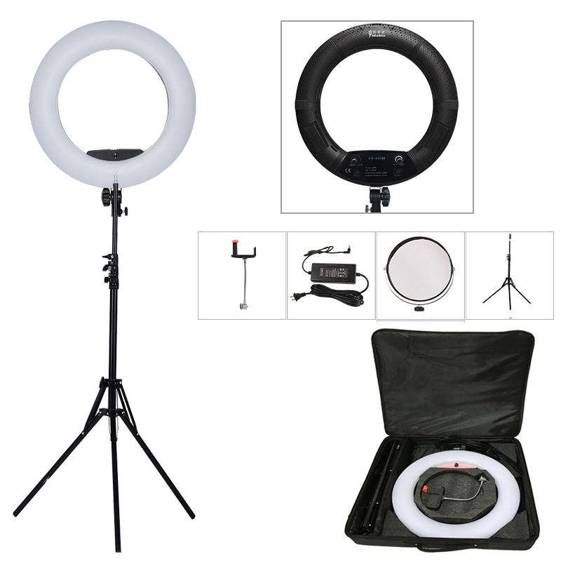 Yidoblo Black FS-480II 5500K Dimmable Camera Photo/Studio/Phone/Video 1848W 480 LED Ring Light LED Lamp+ 200cm tripod +Bag Kit