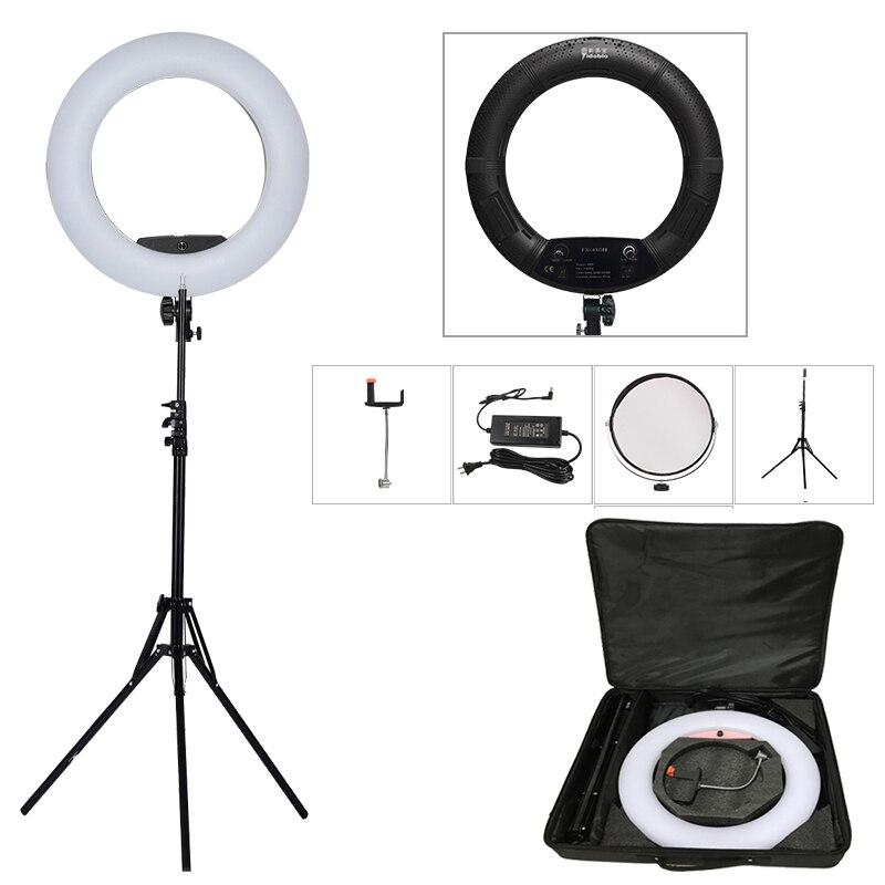 Yidoblo Noir FS-480II 5500 K Dimmable Caméra Photo/Studio/Téléphone/Vidéo 18 48 W 480 LED anneau de Lumière LED Lampe + 200 cm trépied + Sac Kit