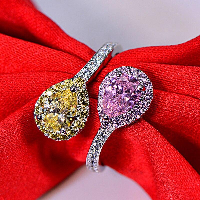 2 carats goutte d'eau Double homme fait Diamant 925 bague en argent Sterling couleur rose et violet S925 anneaux bijoux (JSA)