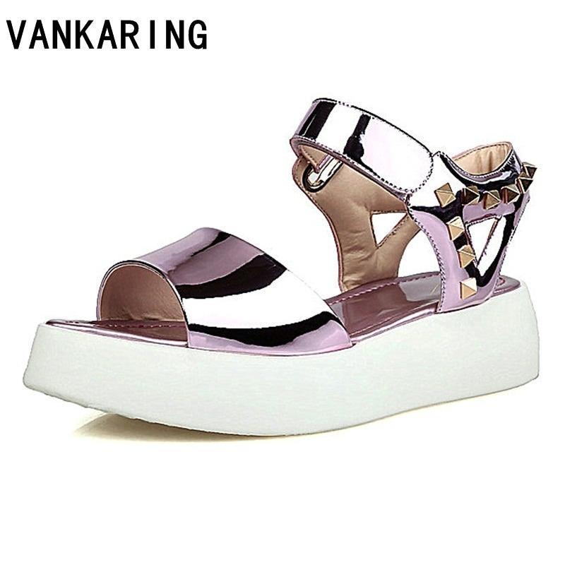 Multi Semelles 2019 Nouvelle Mode Chaussures Vankaring Couleur Sandales Femmes Compensées Décontractées Gun Date Rivet Ventes D'été Meilleures À Size34 pink dsQtrhCxB