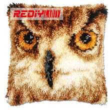 REDIY LADIY Latch Hook Cushion Kits for Embroidery Pre-printed Color Canvas Night Guardian Owl Sofa Decor 43x43cm Unfinished(China)