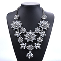 PPG&PGG Brand High Quality Layered Crystal Jewelry Clear Stone Women Statement Necklace