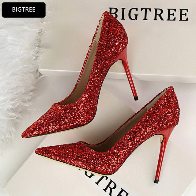 Sequined Cloth Bling Night Club Party Shoes New Pointed Toe High Heels Shoes  Women Pumps 2018 For Ladies Wedding Shoes 9.5CM 805f6e53b9f0