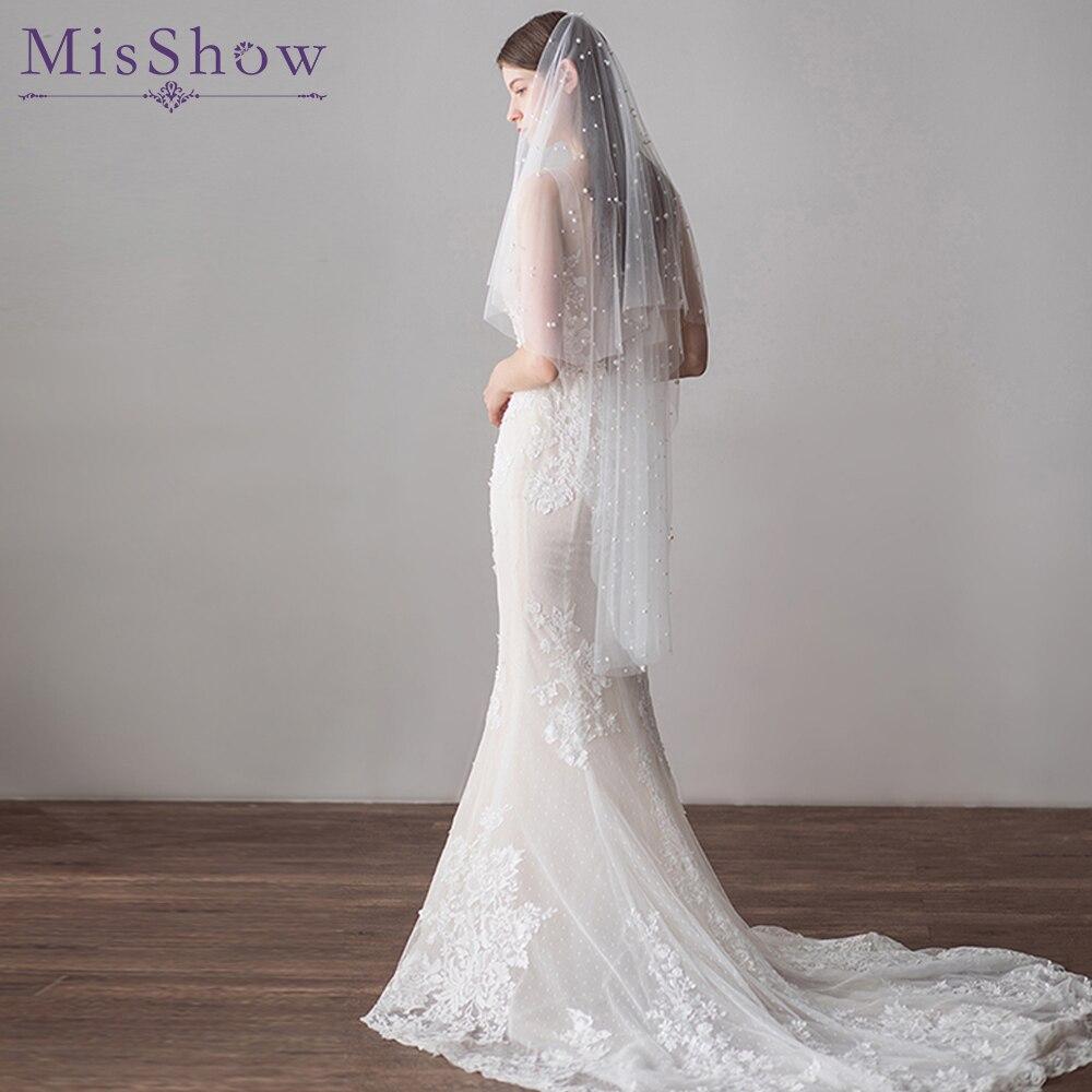 2019 Top Design Elegant Cut Edge Short Wedding Veils With Comb 2019 Real Photos Pearl Bridal Veil For Bride Wedding Accessories