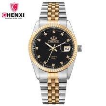 Nuevo lujo chenxi cristal a prueba de golpes a prueba de agua de oro y plata de acero relojes de pulsera de cuarzo reloj de pulsera para hombres boy 004a