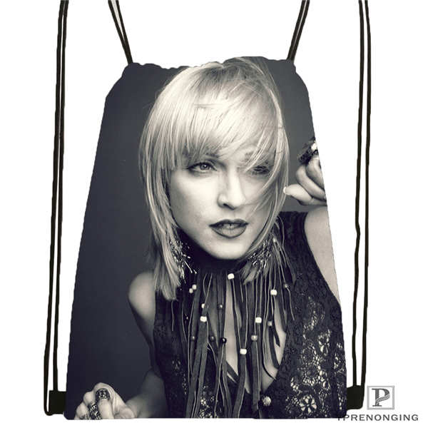 Custom Madonna- @02 Drawstring Backpack Bag Cute Daypack Kids Satchel (Black Back) 31x40cm#180611-03-106