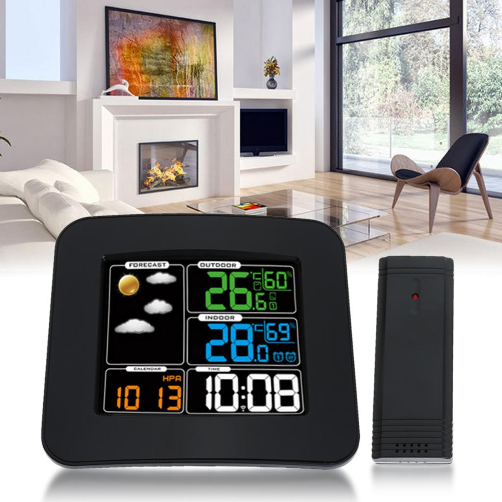 Wireless Weather Forecast Thermometer Color LCD Display Clock Alarm EU Plug