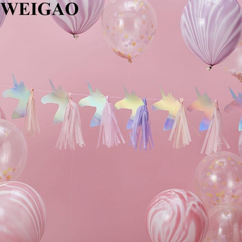 WEIGAO Laser Paper Unicorn Banners With Tassels Birthday Party Unicorn Theme Garlands Kids Happy Birthday Decoration Baby Shower