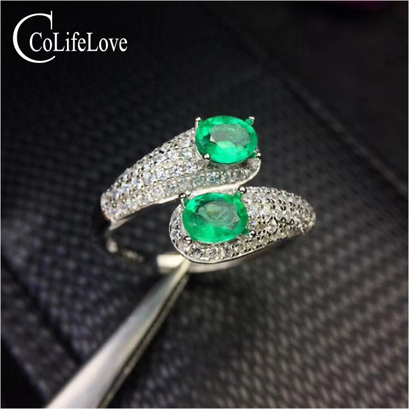 Fashion silver emerald ring for party 2 pieces 4 mm * 5 mm natural emerald silver ring 9 ...