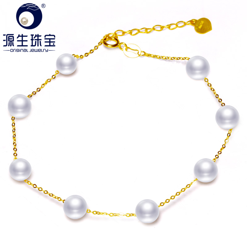 YS 18K Gold 5-6mm White Pearl Bracelet Chinese Freshwater Pearl Bracelet Jewelry 1000pcs 0402 18k 18k ohm 5