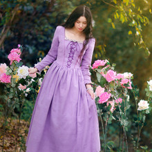 SHCAI Original Design Women Spring Autumn Vintage&Retro Square Collar Court Style Lace-Up  Purple Dreams Tangled Princess Dress