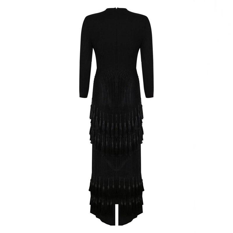 Robe Luxueux Perles Maxi Style Celebrity À Piste Nouveau Élégant 2018 Robes Femmes Longues Gland Noir Party Manches nq8v4I