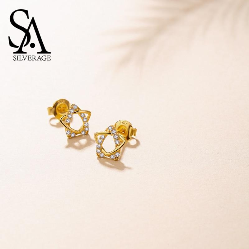 SA SILVERAGE 9K Yellow Gold Star Stud Earrings for Women AAA Zirconia K Gold Earrings 2018