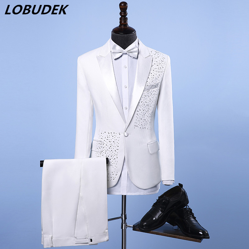 Gentelman Wedding Dress Groom Suits Male Formal Musical Performance Costume Bar Party Host Show Stage Wear Crystals Slim Blazers