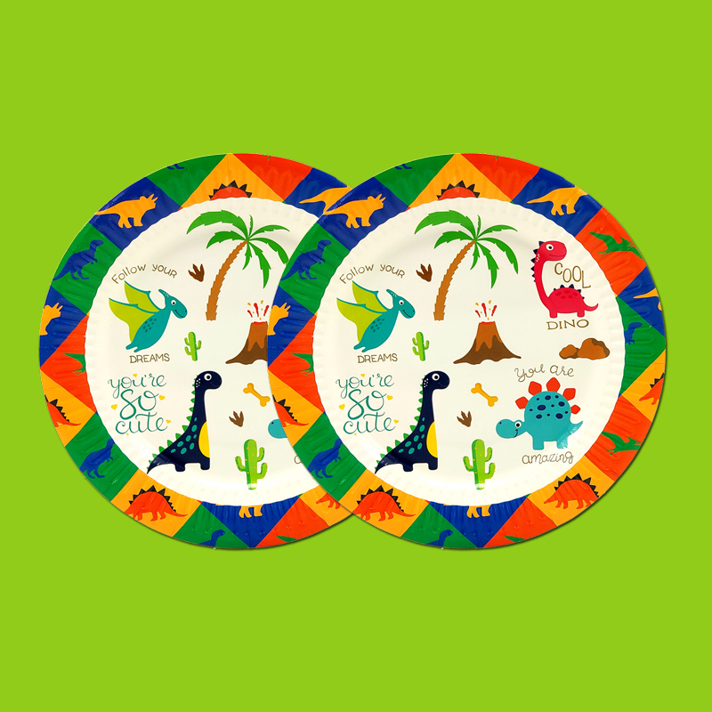 Image 3 - Party supplies 62pcs for 12kids 2019 New Dinosaur theme birthday party decoration tableware set, plate+cup+straw+flag+tablecoverDisposable Party Tableware   -