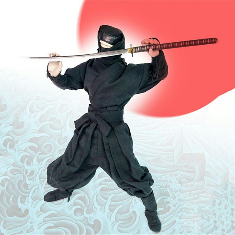 1/6 Black Japanese Samurai Clothes without Body Head and Sword1/6 Black Japanese Samurai Clothes without Body Head and Sword