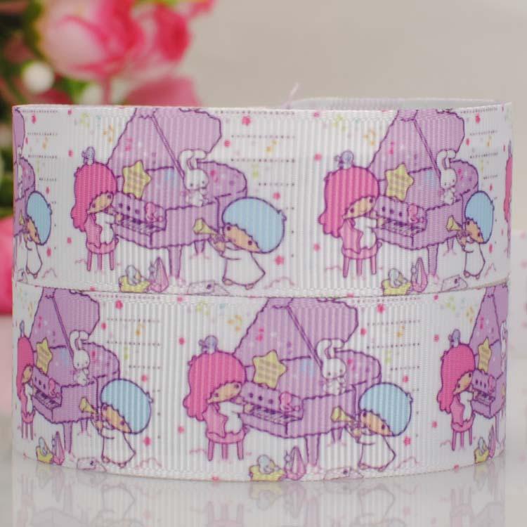 50 yards 7/8  22 mm little twin star pattern print grosgrain tape cartoon ribbons hair bow free shipping ...