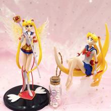 Anime Sailor Moon Tsukino Usagi pcv figurka skrzydła narzędzie do dekoracji ciast zabawka do kolekcjonowania lalki dziewczyny prezenty tanie tanio 12-15 lat Dorośli Puppets Model Wyroby gotowe League Of Loveliness LOL Japonia Jeden rozmiar Żołnierz gotowy produkt