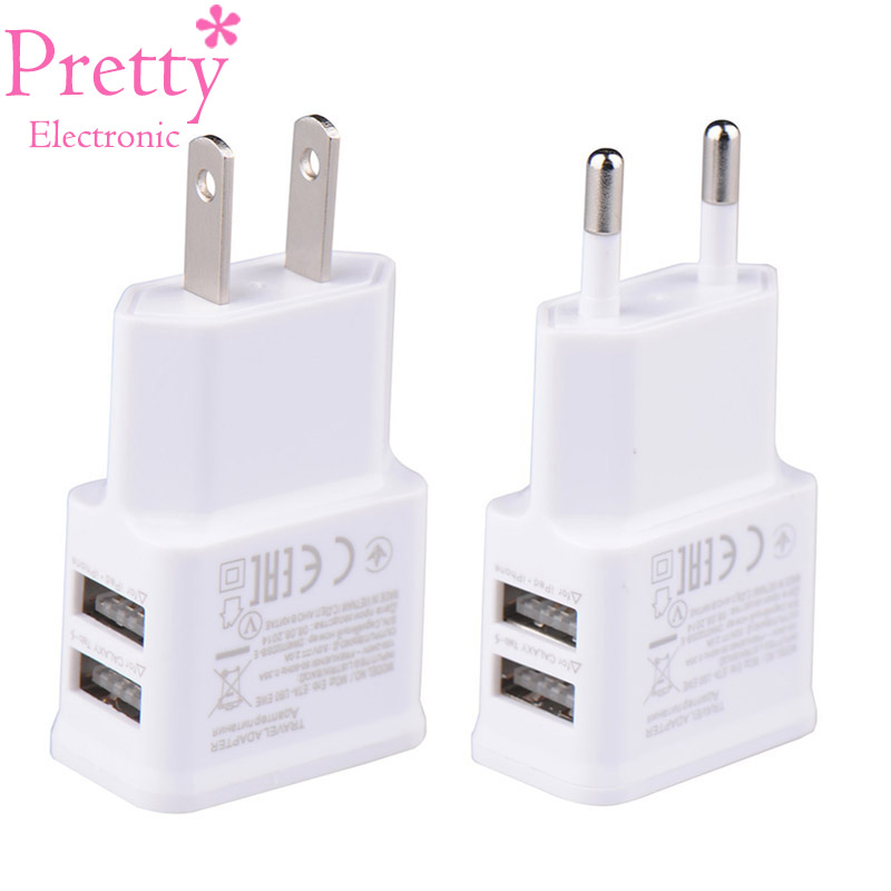 где купить Dual USB Charger 5V 1A EU Plug Universal Mobile Phone charger Wall AC Power charger International plug Adaptor for IPhone Samsun дешево