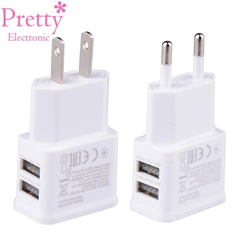Dual USB Charger 5V 1A EU Plug Universal Mobile Phone Charger Wall AC Power Charger International Plug Adaptor