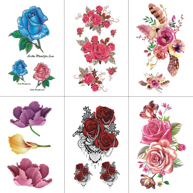 Hxman Flower Temporary Tattoos For Women Hand Tattoo Sticker Fashion