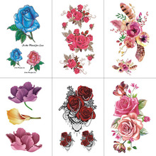 TCOOL Flower Temporary Tattoos for Women Hand Tattoo Sticker Fashion Sexy Body Art Waterproof Arm Fake Tatoo 10.5X6cm P-061