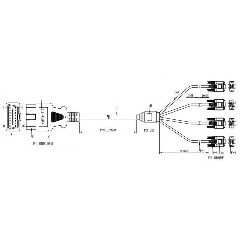 OBD2 16 Pin Cable Wiring Cord 1 Male To 4 DB9 Interface