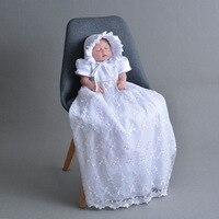 2018 שמלת תחרה תינוקת שמלת הטבלה שנהב ולבן ארוך במיוחד 1 שנה יום הולדת שמלת תינוק שמלת טבילת ילדה
