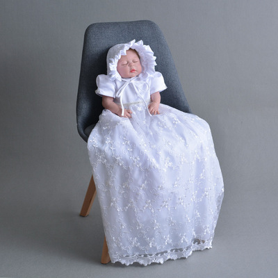 2019 bébé fille dentelle robe Extra longue baptême robe ivoire et blanc 1 an anniversaire robe bébé fille robe de baptême