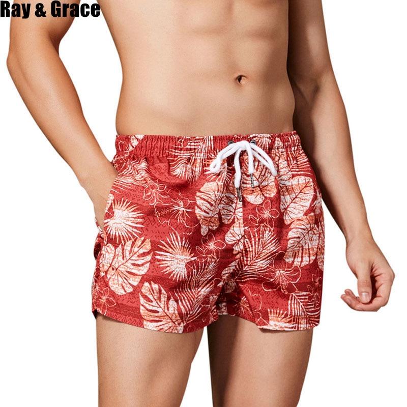 RAY GRACE Summer Beach Shorts Men Breathable Quick Dry Trunks Male Beachwear Surfing Swim Board Shorts Swimsuit Bermudas Shorts