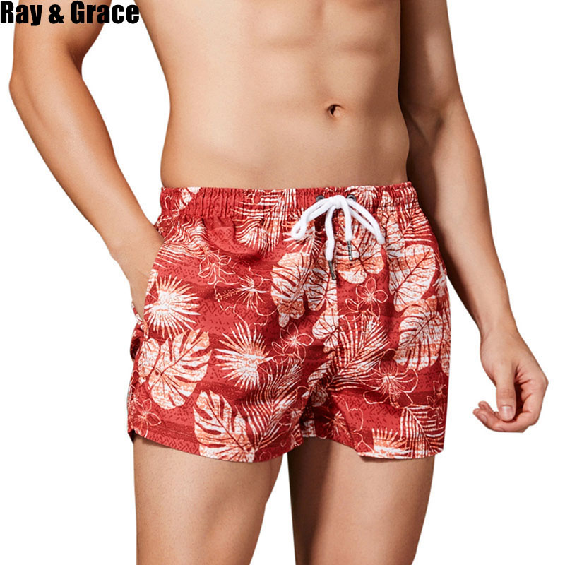 RAY GRACE Summer Beach   Shorts   Men Breathable Quick Dry Trunks Male Beachwear Surfing Swim   Board     Shorts   Swimsuit Bermudas   Shorts