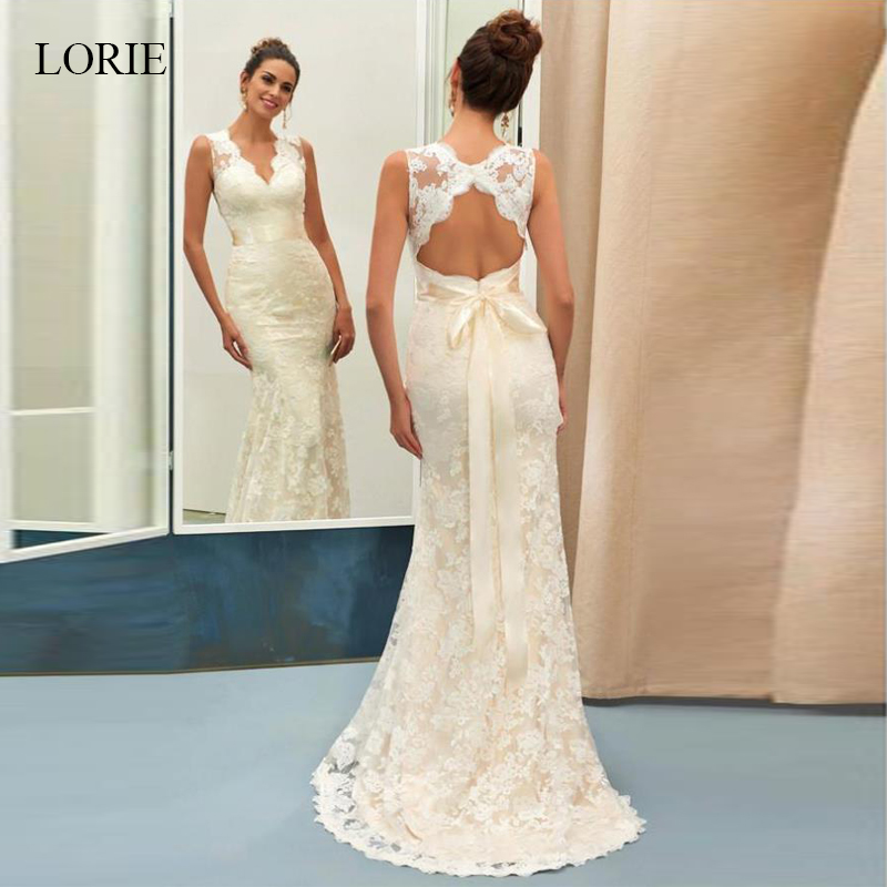 Lorie Champagne V Neck Open Back Sleeveless Lace Sheath Beach Wedding Dresses With icory vestido de