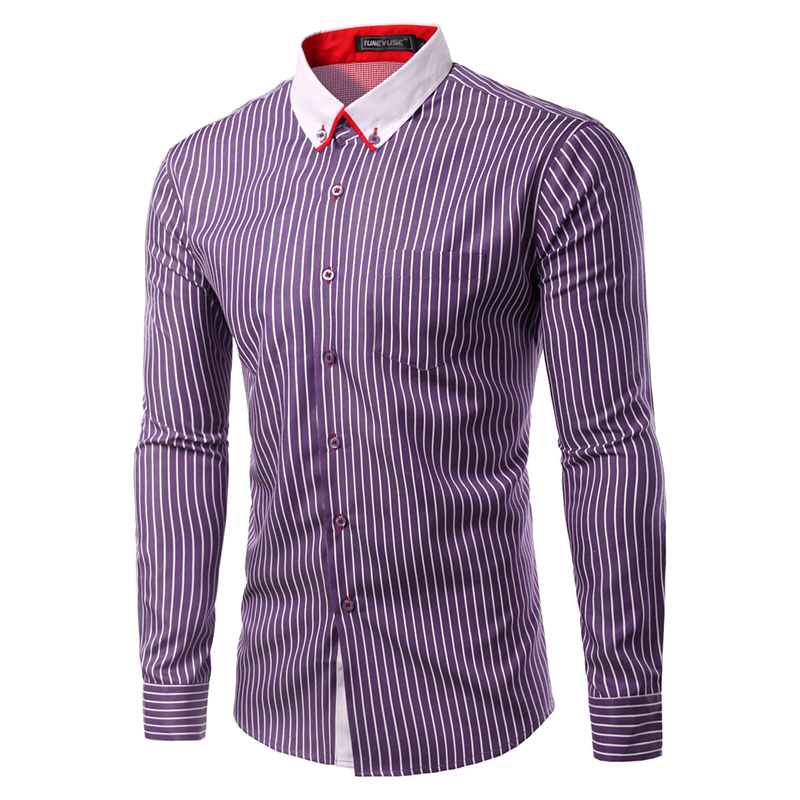 Fashion 2016 men shirts male striped formal dress shirt for Mens dress shirt sleeve length