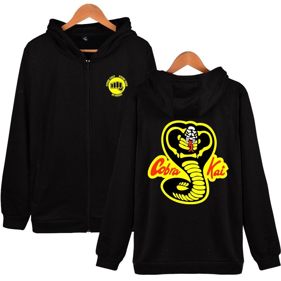 Cobra Kai Hoodies Men Funny Long Sleeve Casual Tracksuit Sweatshirts Zipper Loose Outerwear Hoodies Cobra Kai