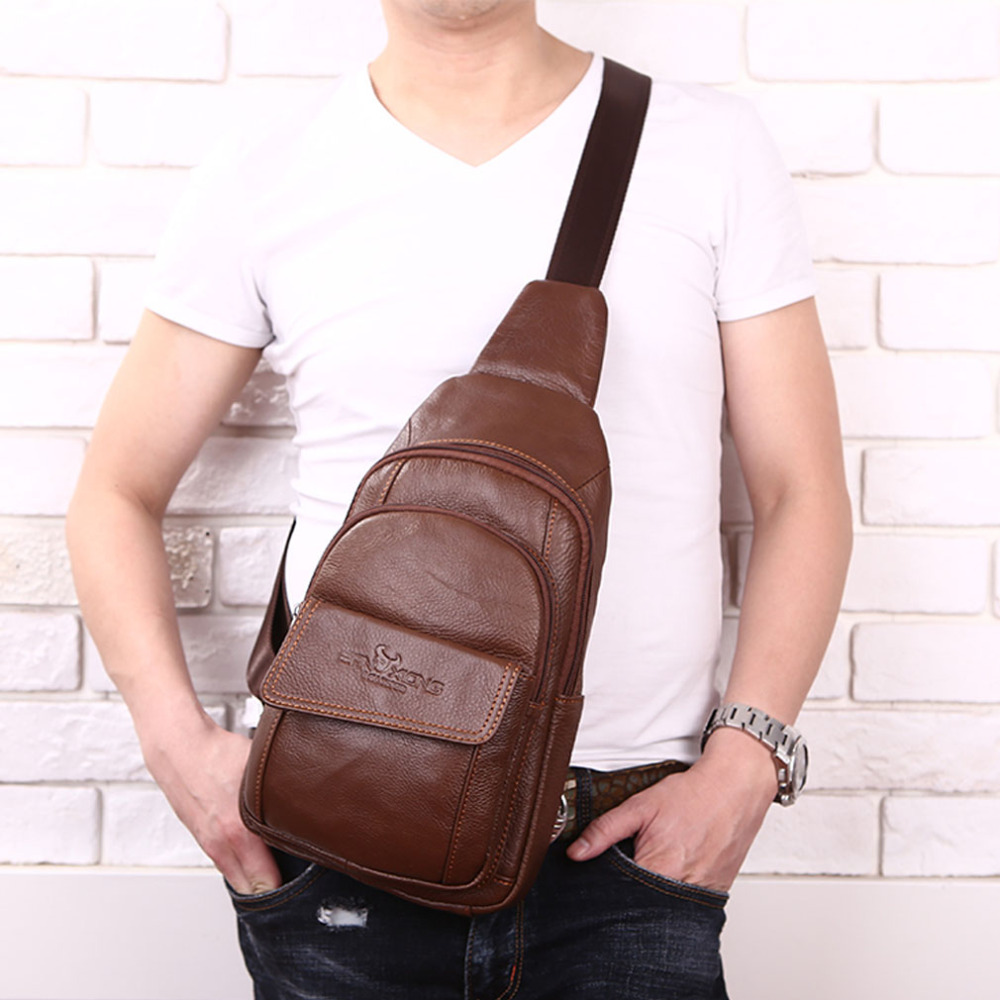 New Men Genuine Leather Cowhide Messenger Shoulder Cross Body Bag Travel Male Sling Chest Back Pack Day Pack men s genuine leather belt buckle back pack shoulder messenger unbalance sling chest bag
