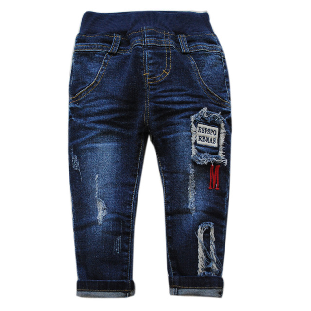 5987 baby jeans baby boy jeans navy blue spring  autumn little hole casual pants  kids trousers baby fashion 2017  soft denim