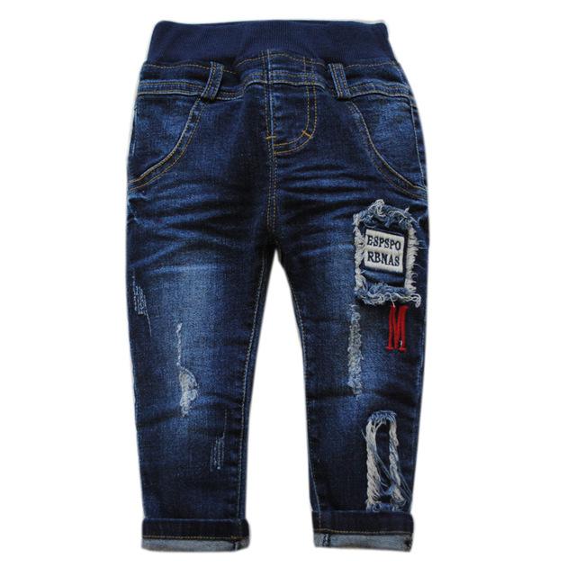 5987 pantalones vaqueros del bebé bebé de los pantalones vaqueros azul marino de primavera otoño pequeño agujero pantalones casuales niños pantalones de la manera del bebé 2017 suave denim