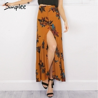 Simplee High Waist Boho Print Long Skirt Women Split Maxi Skirt Floral Beach Skirt Female Christmas