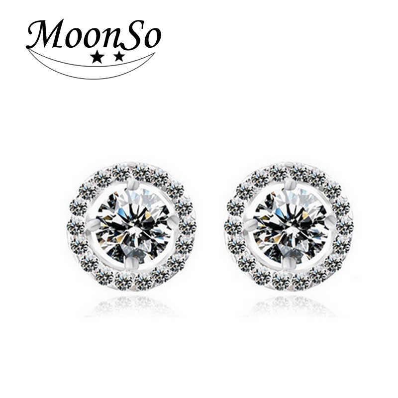 2020 moda luxo 925 prata esterlina 6mm pequeno zircão brincos de orelha para presente de natal feminino jóias coreanas e232