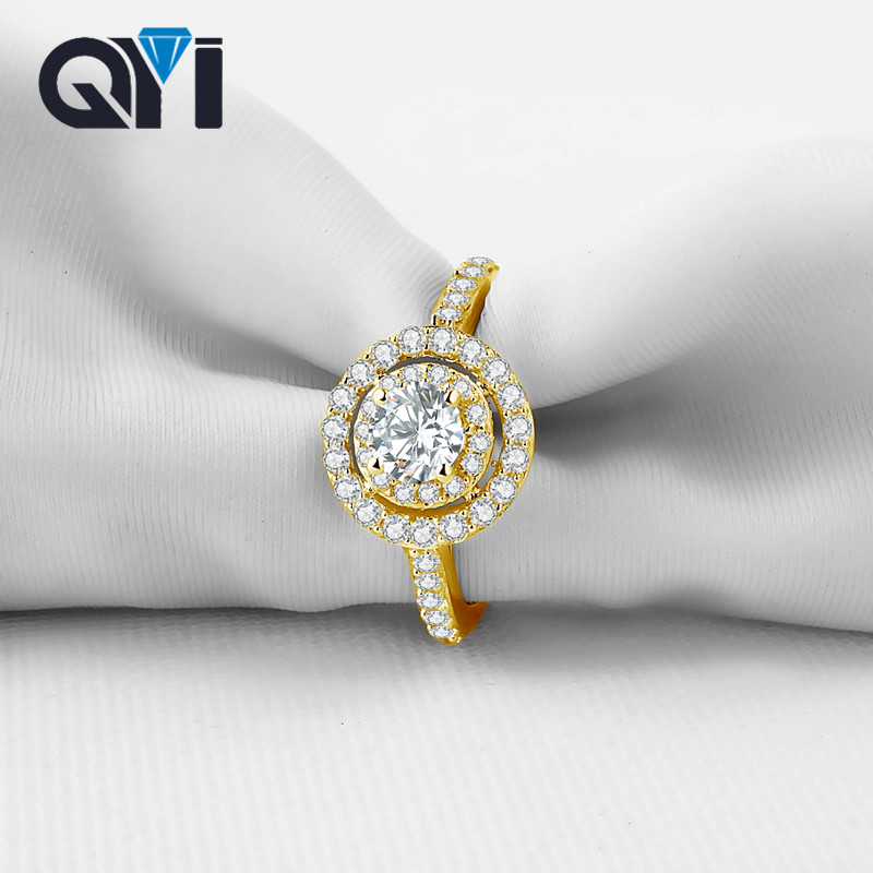 все цены на QYI 10K Solid Yellow Gold Rings Real Pure Gold Luxury Sona Simulated Diamond Rings For Women Wedding Engagement Jewelry онлайн