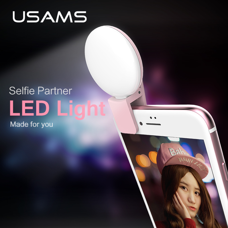 Цена за USAMS Selfie Светодиодные Держатель для iPhone Samsung Huawei Xiaomi