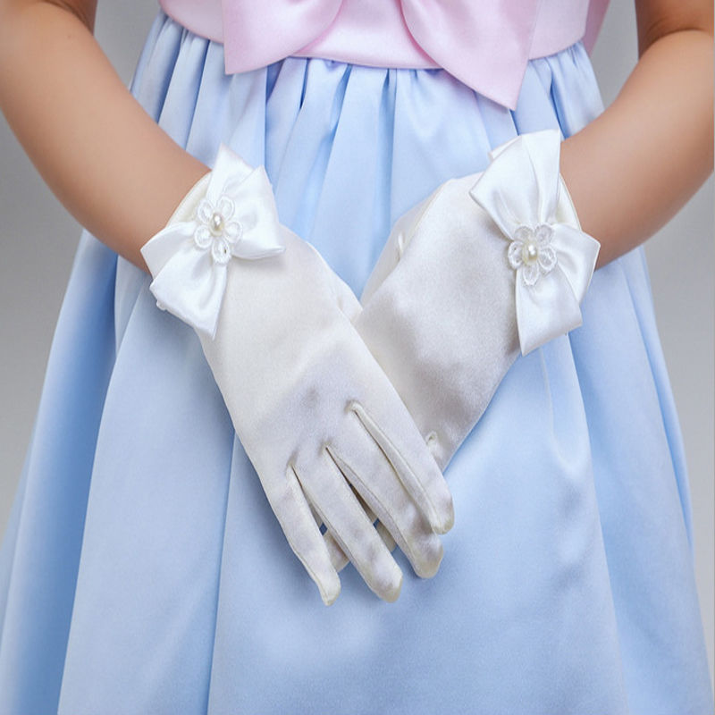 1 pair Charming Flower Girl Party Bowknot Female fingerless s