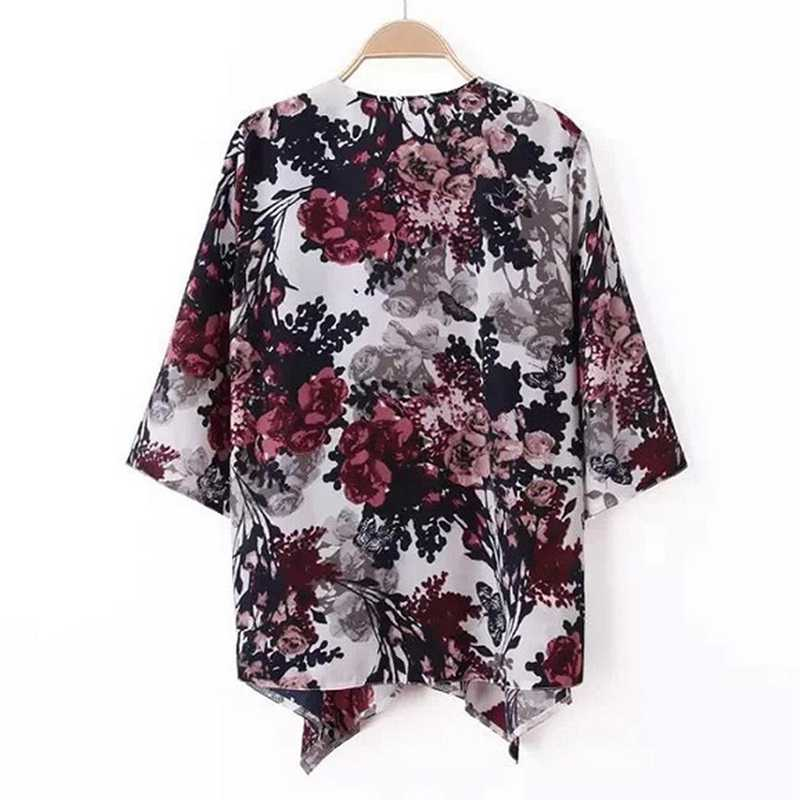 ヴィンテージ女性インク花柄ブレザーバットウィング着物コートジャケットカーディガン