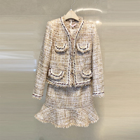 Women Set Two Pieces 2018 Autumn Winter Woolen Coats Long Sleeve Coarse Tweed Jackets Tassel Pearl Fish Tail Suit Mermaid Skirts
