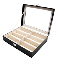 Free delivery 8 Slots Eyeglasses Sunglasses Faux Leather Storage Organizer Display Case Box