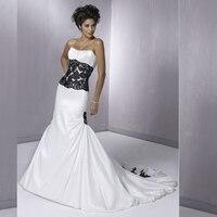 Black White Wedding Dress Strapless Taffeta Chapel Tail Black Lace Sheath Black Lace Appliqued Beaded Custom