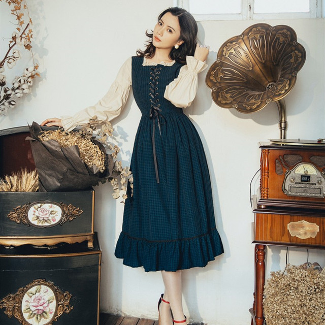 2019 Autumn Dress New Vintage Dress Fake Two-Piece Slim Dress Long Butterfly Sleeve French Fashion Style Holiday Dress 1