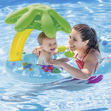 Mom Kids Safe Inflatable Ring Circle Swimming Pool Inflatable Wheels Baby Float Beach Acces